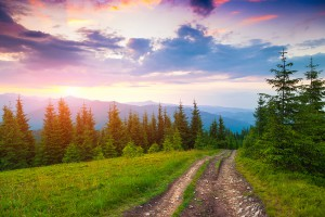 Colorful summer sunset in the Carpathian mountains. Lisniv ridge, Ukraine, Europe.