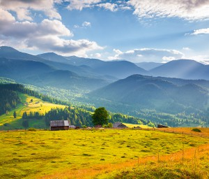 Colorful summer morning in the Carpathian mountains. Cosarische ridge, Ukraine, Europe.