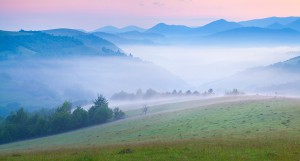 Early morning in the foggy Carpathian mountains. Borzhava ridge, Transcarpathian, Ukraine, Europe.
